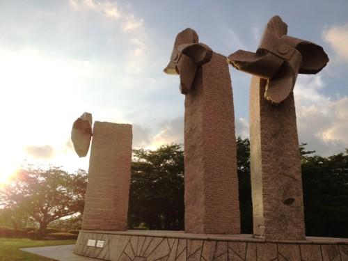 石のかざぐるま 一本松公園夕方